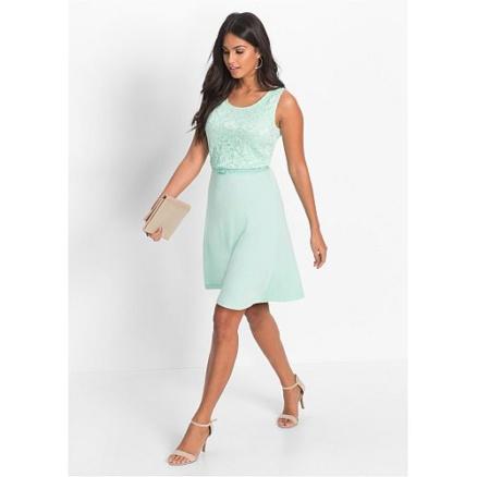 Mintkleurige kant jurk
