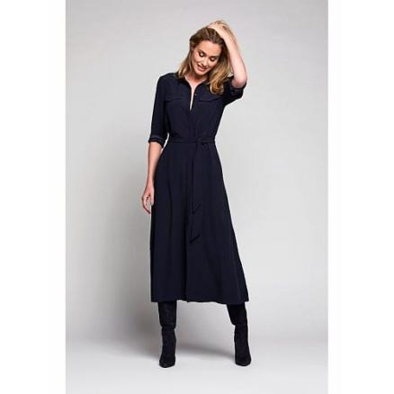 lange navy jurk