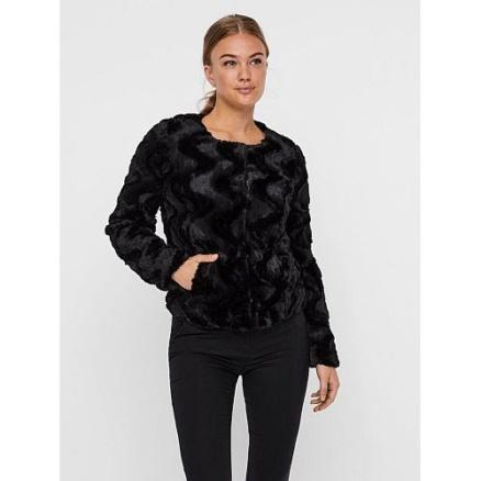 Kort zwart faux fur jasje