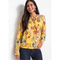 Kanariegele blouse met bloemenprint